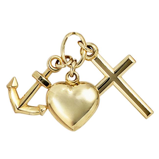 Gold pendant faith, hope and love 8 Carat