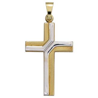 Aurora Patina Gouden kettinghanger kruis Duo