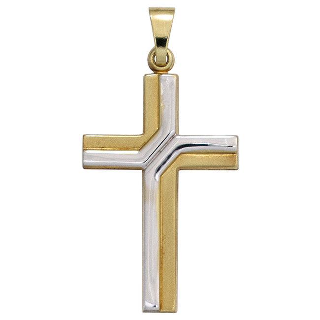 Gouden kettinghanger kruis 8 karaat in twee kleuren