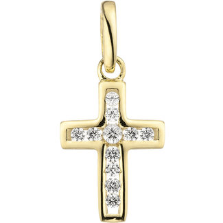 Aurora Patina Gouden hanger kruis 11 zirkonias