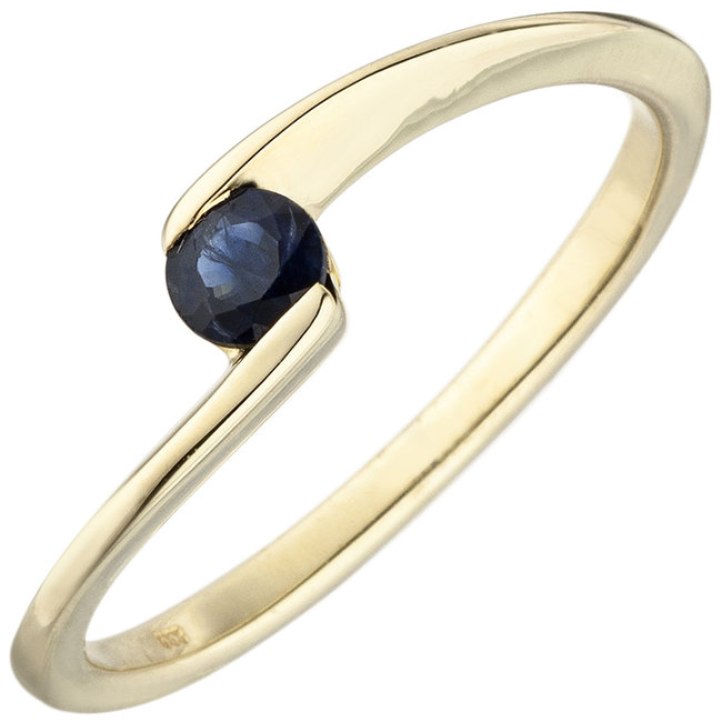 Gouden ring  8 karaat met blauwe saffier