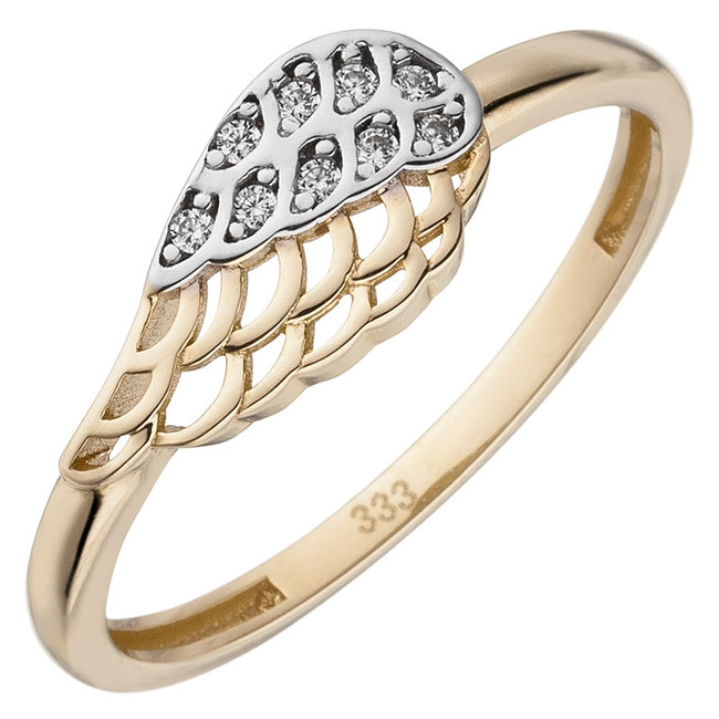 Gold ring Wing with 9 zirconias 8 carat (333)