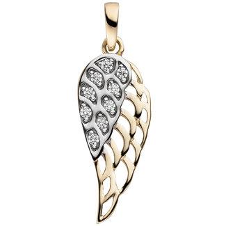 Aurora Patina Gouden hanger Vleugel met 9 zirkonias