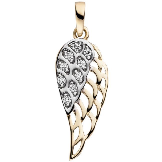 Gold pendant Wing with 9 zirconias 8 carat (333)