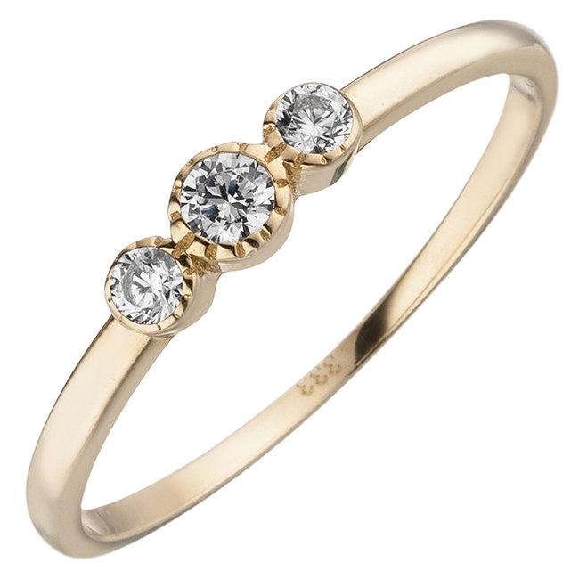 Gouden ring met 3 zirkonias 8 karaat (333)