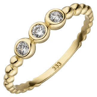 Aurora Patina Gold ring with 3 zirconias