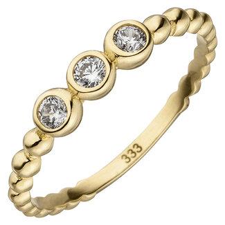 Aurora Patina Gouden ring met 3 zirkonia's