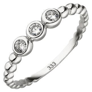 Aurora Patina White gold ring with 3 zirconias