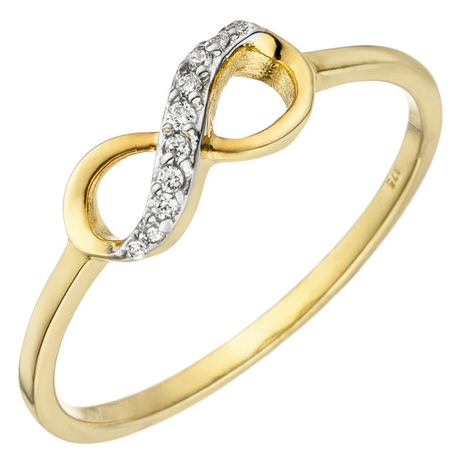 Gold ring Infinity with 10 zirconias 8 carat (375)