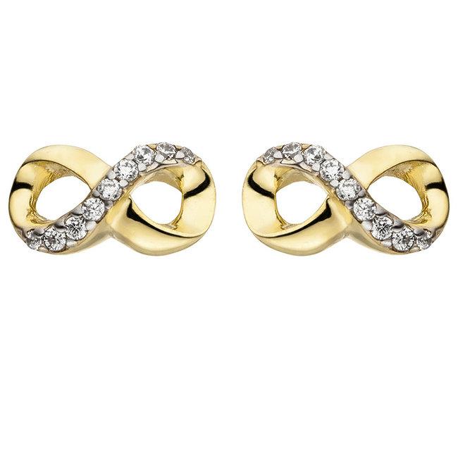 Gouden oorstekers Oneindigheid met zirkonia
