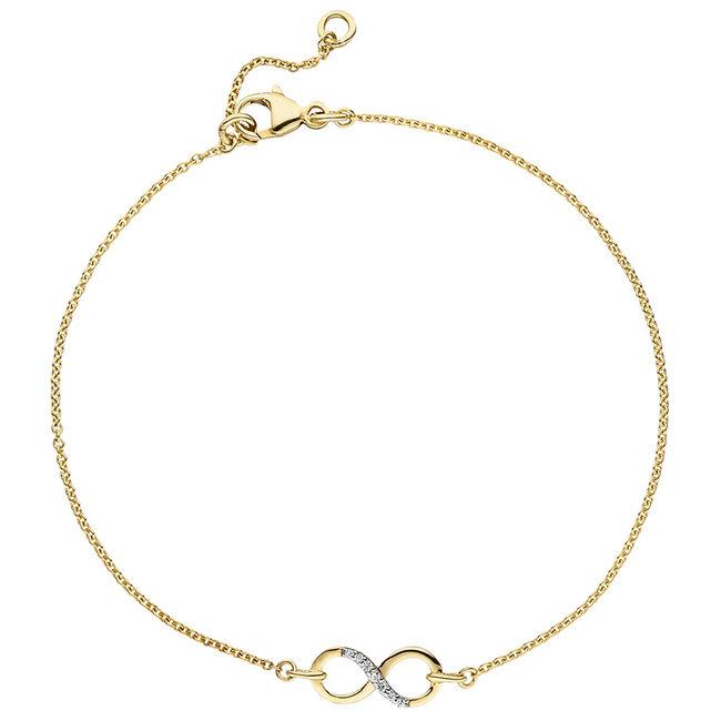 Gouden armband Oneindigheid 9 karaat (375) met zirkonia
