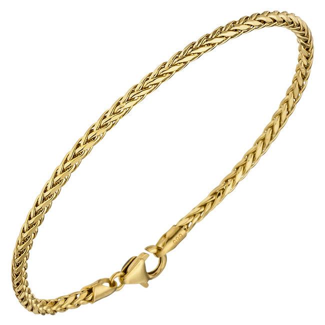 Gevlochten gouden armband 14 karaat geel goud