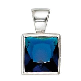 Aurora Patina Zilveren hanger met blauwe zirkonia