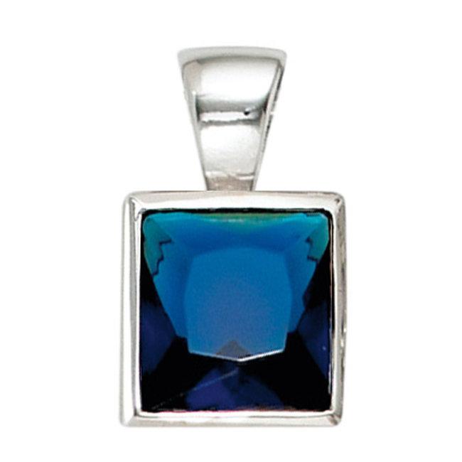 Kettinghanger 925 sterling zilver met blauwe zirkonia