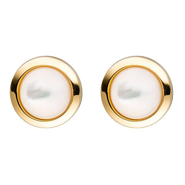 Aurora Patina Gouden oorstekers met parelmoer stenen 8 mm