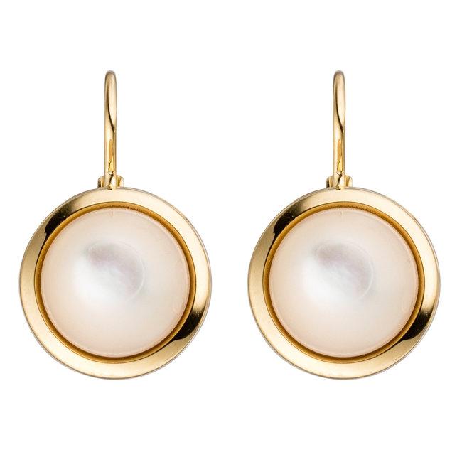 Aurora Patina Gouden oorbellen met parelmoer stenen