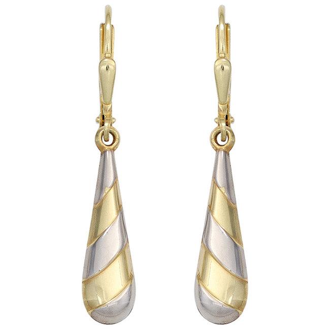 Gouden oorbellen druppel tweekleurig