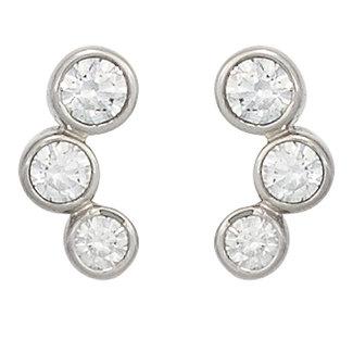 Aurora Patina White gold earstuds with 3 zirconias