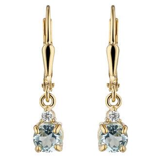 Aurora Patina Gouden oorbellen blauwtopaas en zirkonia