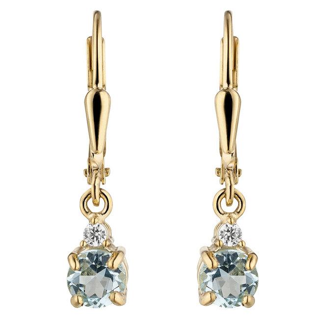 Gouden oorbellen 8 karaat met blauwtopaas en zirkonia