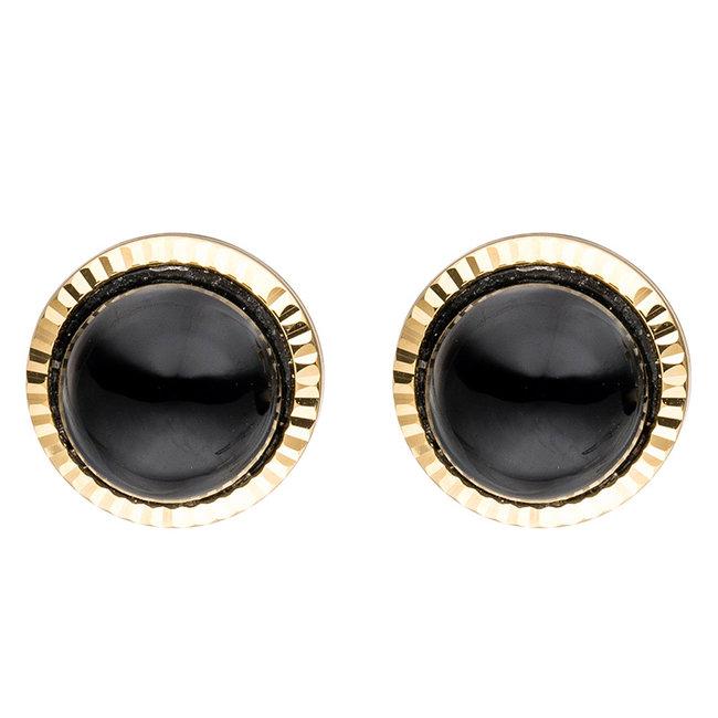 Gouden oorknopjes met zwarte onyx 8 karaat (333)