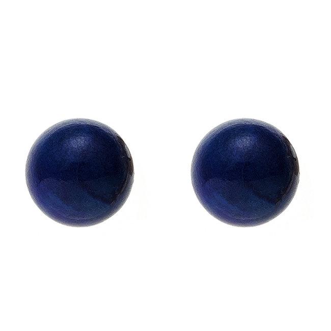 Gouden oorstekers met lapis lazuli 5 mm 14 kt (585)