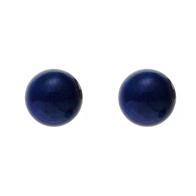 Gouden oorstekers met lapis lazuli 4 mm 14 kt (585)