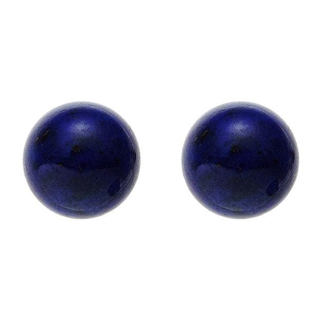Gouden oorstekers met lapis lazuli 6 mm 14 kt (585)