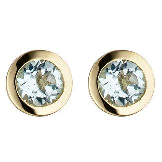 Aurora Patina Gold earstuds blue topaz