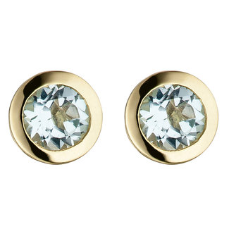 Aurora Patina Gouden oorstekers blauwtopaas
