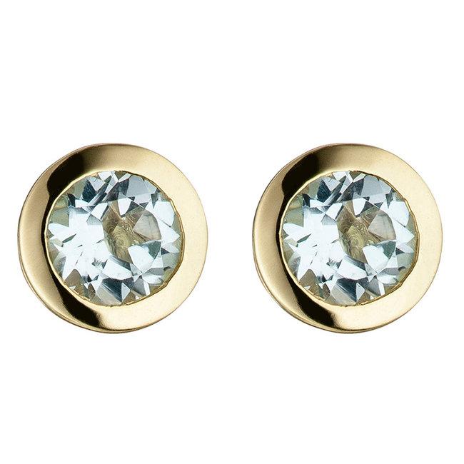 Gouden oorstekers met blauwtopaas