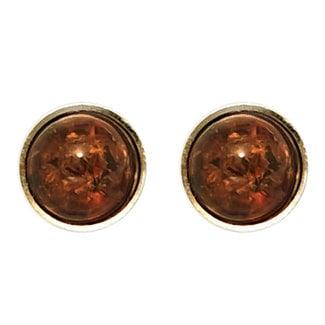 Aurora Patina Golden earstuds amber round