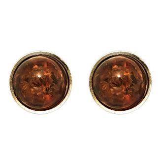 Aurora Patina Gouden oorstekers barnsteen rond