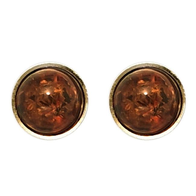 Gouden oorstekers met 2 barnstenen rond