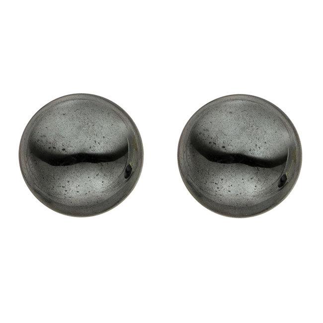 Gouden oorstekers met hematiet 6 mm 14 kt (585)