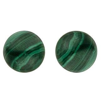 Aurora Patina Gouden oorstekers met malachiet 6 mm