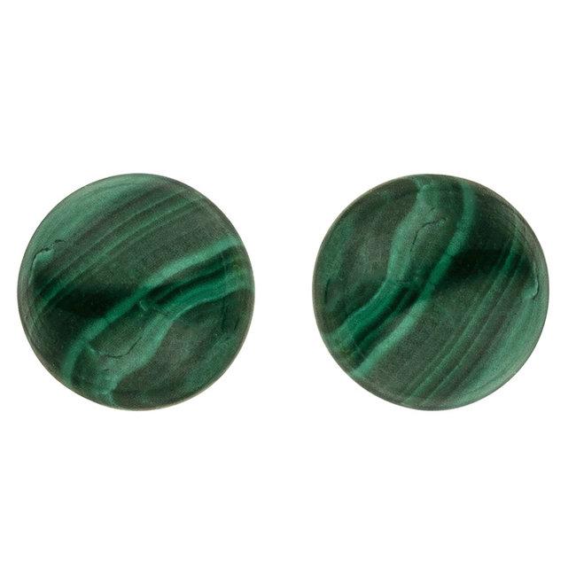 Gouden oorstekers met malachiet 6 mm 14 kt (585)