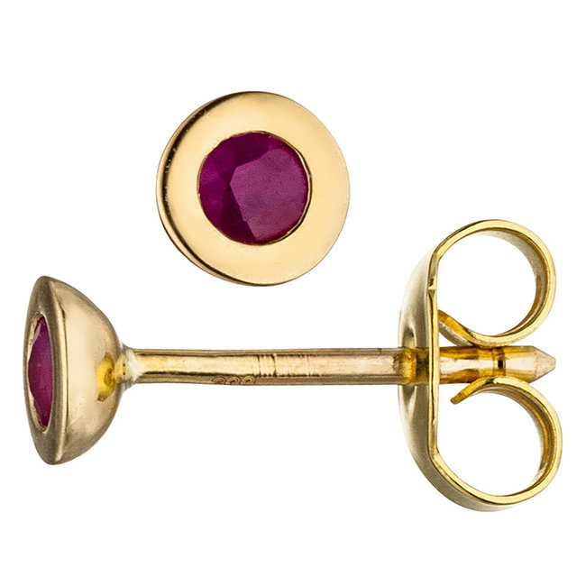 Gold earstuds (333) ruby red