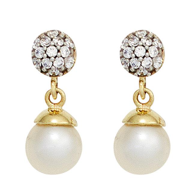 Aurora Patina Gouden oorstekers met parels en zirkonia's