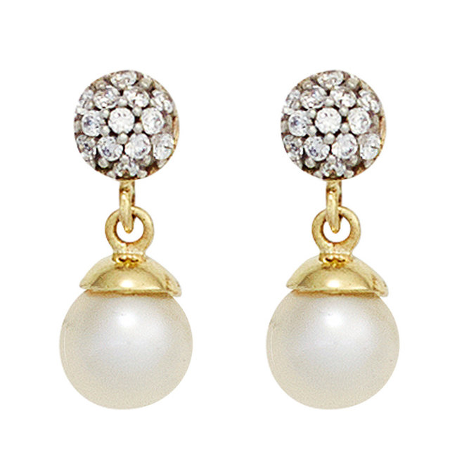 Gold ear studs 8 carat with pearls and zirconia