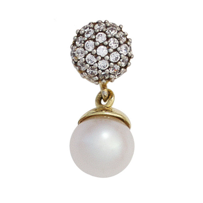 Gold pendant 8 carat with pearl and zirconia