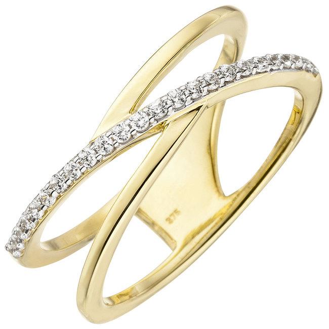 Gouden ring met 24 zirkonias 9 karaat (375)