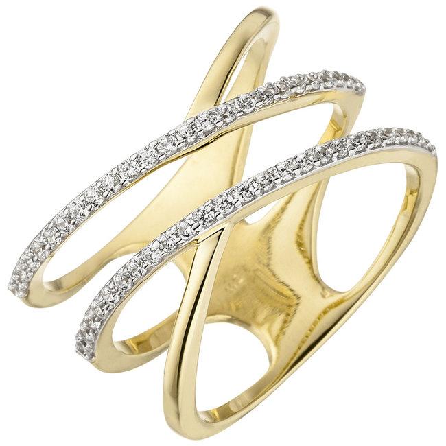 Gouden ring met 52 zirkonias 8 karaat (375)