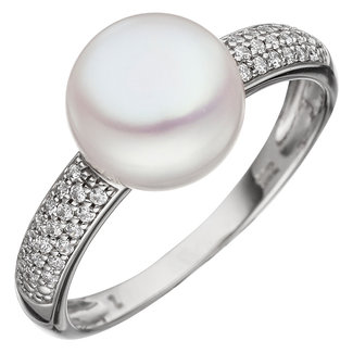 Aurora Patina White gold ring with pearl and zirconia