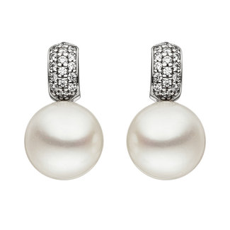 Aurora Patina White gold earstuds with pearls and zirconia