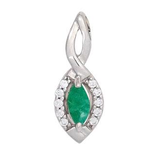 Aurora Patina White gold pendant with emerald and 10 brilliant cut diamonds