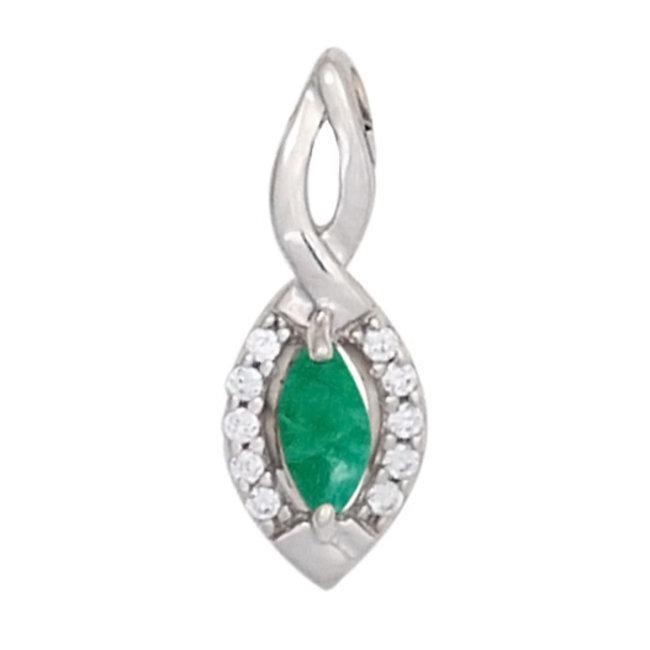 Aurora Patina Witgouden hanger met smaragd en 10 briljanten