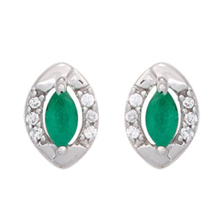 Aurora Patina White gold earstuds with emerald and brilliant cut diamonds