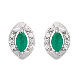 Aurora Patina Witgouden oorstekers met smaragd en 12 briljanten