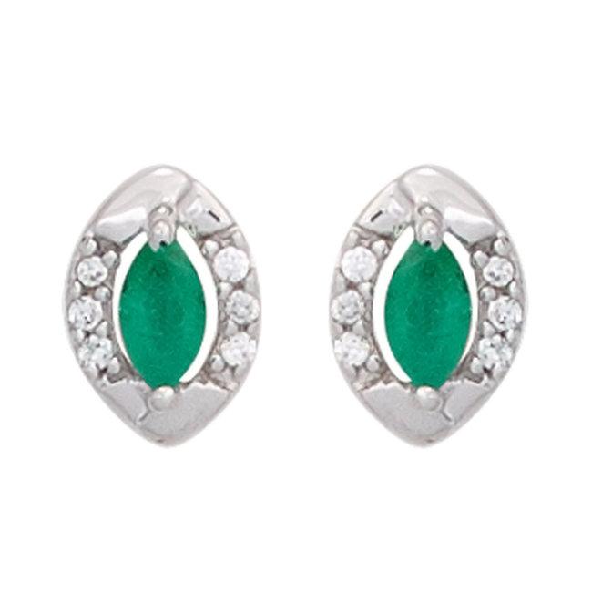 Witgouden oorstekers 8 karaats met smaragd en 12 briljanten